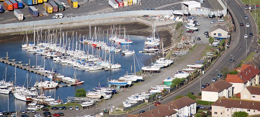 The island pontoon and inner trot moorings.